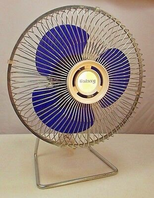 VIntage Galaxy Mini Fan Beautiful Blue Blades SIngle Speed Fast Ship