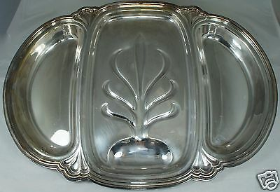 """Antique Silver Plate Meat Serving Divided Tray """"chadwick"""" Pattern W/ Tree Well"""