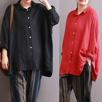 40f7be4574cb1 ZANZEA Women Buttons Down Asymmetrical Oversize Blouse Tops Plus Size Shirt  New