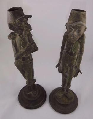 """2 Antique French Continental c1880 Spelter Candlesticks Caricature Soldiers 13"""""""