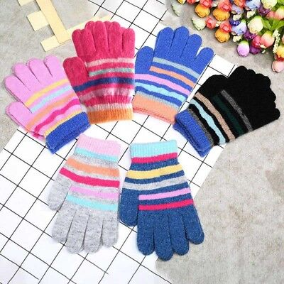 Chic Kids Gloves Mixed Color Child Warm Glove Striped Pattern Winter Hand Care