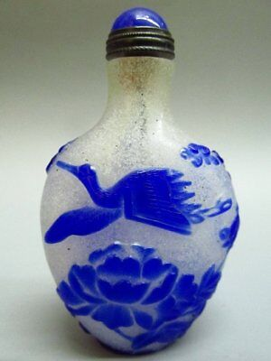 Chinese Crane Bat Pattern Carved Peking Glass Snuff Bottle