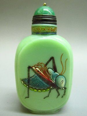 Chinese Katydid Pattern Carved Green Peking Glass Snuff Bottle