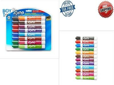 16 Expo Low Odor Dry Erase Markers Set White Pens Board Assorted Colors Pack 16