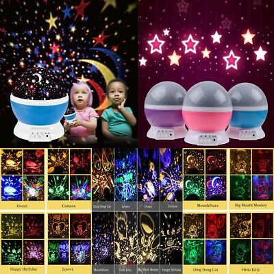 Rotating LED Projector Starry Night Lamp Star Sky Projection Light Kids Sleep
