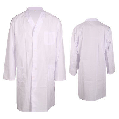 Unisex White Hospital Uniform Lab Coat Medical Doctor Coats Jackets Nursing Long