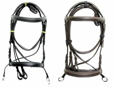 new Dr. Cook Leather Horse Bitless Brown Black Crossover Bridle Full web reins