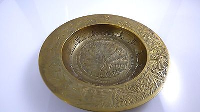 Vintage Solid Brass Ornate Small Plate Asian Peacock Bird In Center Made India