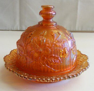 Vintage Imperial Carnival Glass Marigold Lustre Rose Butter Dish W Lid