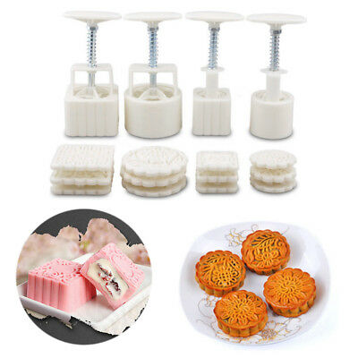 4 Sets Square Round Flower Moon Cake Mold Pastry Mooncake Home Hand DIY Tool