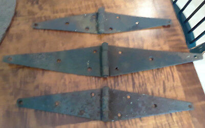 3 Primitive Antique Strap Hinges Cast Iron