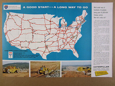 1958 CAT Caterpillar Interstate Highway System Progress US Map vintage print Ad