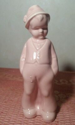 "Vintage Pottery Pink Young Boy Leaning on Wishing Well Planter Shawnee? 9"" Tall"