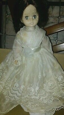 Vintage DOLL with clothing lace dress flower ribbon thigh highs brown hair