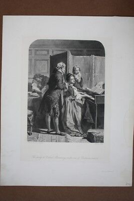 The party at Colonel Mannerings on the eve  of Bertram´s return, Stahlstich um 1