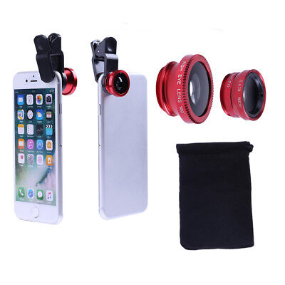 Universal 3 in 1 180° Clip Fish Eye+Wide Angle+10X Macro Lens Kit for iPhone 8 7