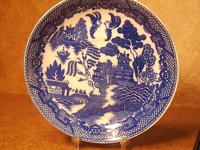 """vintage early1900's fine translucent china """" blue willow"""" saucer  marked Japan"""
