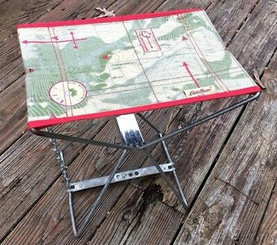 vtg Folding Cloth Canvas Metal Frame Stool  Chair  Fishing Hunting Camping Map