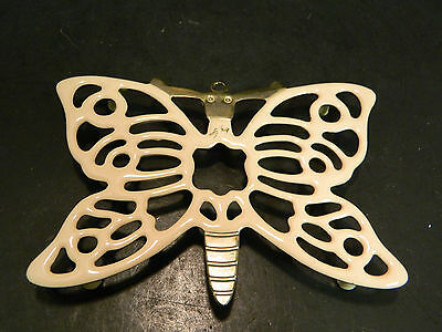 """Vintage Enameled Brass Footed Butterfly Trivet 6"""" x 3.88"""" Excellent Condition"""