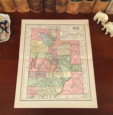 Original 1885 Antique Map UTAH Nephi Loa Layton Provo Orem Ogden Sandy Logan Roy