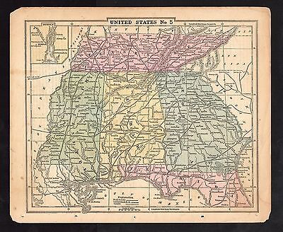 Original 1855 Pre-Civil War Antique Map SOUTHERN STATES Alabama Georgia Florida