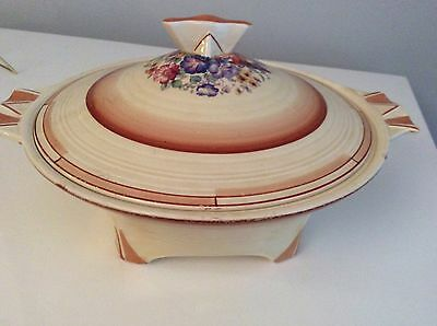 Crown Ducal - Art Deco With Flower Trim Round Covered Serving Bowl Dish