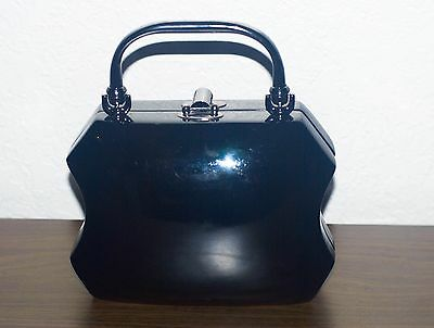 Rare Timmy Woods Handcrafted Wooden Black Handbag.