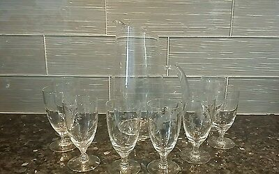 Vintage Clear Etched Pitcher & 8 Juice Cocktail Glasses