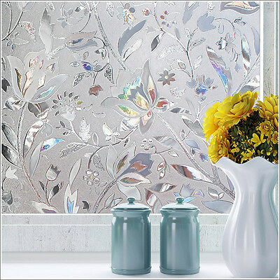 60*200cm 3D Static Cling Frosted Flower Window Glass Film Sticker Privacy Decor