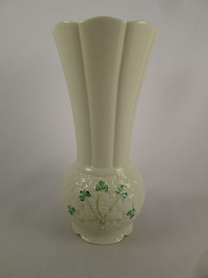 "Large 8"" Tall Belleek Irish Porcelain Clover Shamrock Basketweave Flower Vase"