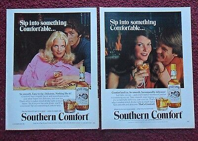 Lot of 13 Diff SOUTHERN COMFORT Whiskey Print Ads ~ Sip Into Something Comfy ++