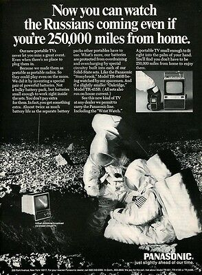 1969 Print Ad PANASONIC TV Television ~ Astronauts Watch the Russians Coming