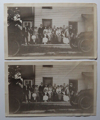 Two Original B&W Photographs - Group Photo In Front of House, Cars, Circa 1920s