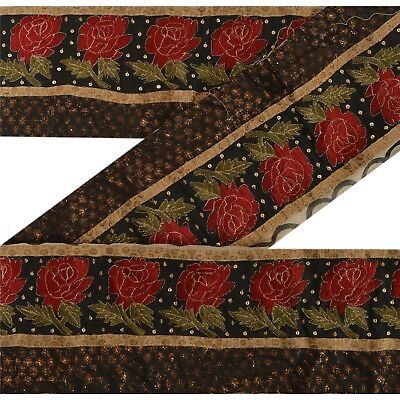 Sanskriti Vintage Sari Border Antique Hand Beaded 1 YD Indian Trim Sewing Black