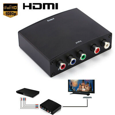 HD Video RGB Component YPBPR to HDMI +L/R Converter Adapter For TV US UK EU Plug