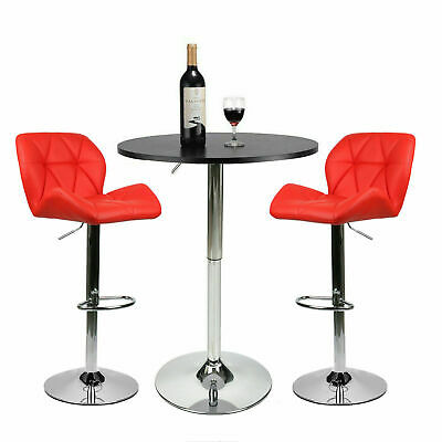 3 Pieces Pub Table Set Bar Stools Adjustable Swivel Dining Kitchen Chair Red
