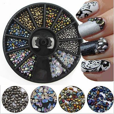 3D Nail Art Decoration Chameleon Black Wheel Beads Studs Rhinestone Mixed Tips