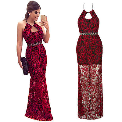 Sexy Women Lace Long Formal Evening Party Cocktail Dress Bridesmaid Prom Gown.