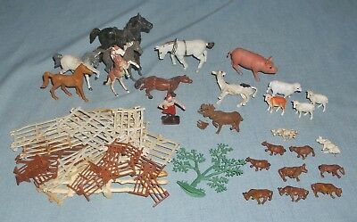 Vintage Variety Lot of Plastic Farm Animal Toys Horses Sheep Cow Pig Fencing