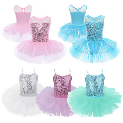 Kids Girls Ballet Dress Ballerina Dancing Tutu Skirts Leotard Dancewear Costume