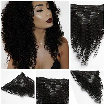 7Pcs Set Black Kinky Curly 100% Remy Human Hair Clip in Human Hair Extensions