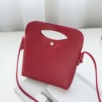 Women PU Leather Shoulder Bag Candy Color Tassel Bucket Tote Mini Casual Handbag