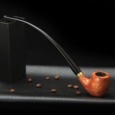 9'' Long Handle Classic Bent Stem Tobacco/Smoking Pipe Rosewood Long Gift