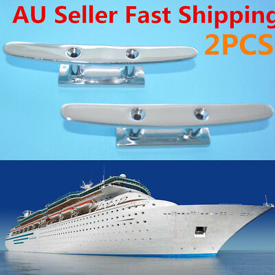 1 Pair 6'' Stainless Steel Flat Top Low Boat Cleat 2 Hole Mount Marine Hardware