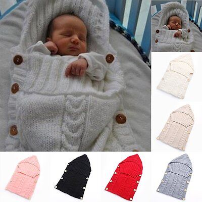 CU Baby Infant Newborn Knit Crochet Swaddle Wrap Swaddling Blanket Sleeping Bag