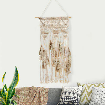 Handmade BOHO Macrame Woven Wall Hanging Tapestry Home Decor 133.5x38cm + Stick