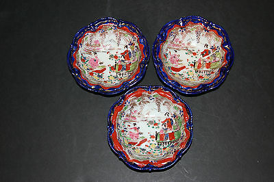 """(3) Vintage 6"""" Hand Painted Japanese Moriage Geisha Bowls Signed by Artist"""