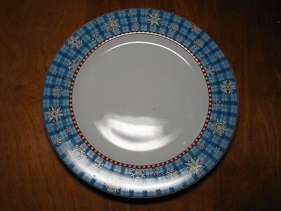 Sakura Debbie Mumm SNOWFLAKE Set of 4 Dinner Plates 11  Blue Rim & SAKURA DEBBIE Mumm SNOWFLAKE Set of 4 Dinner Plates 11