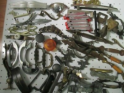 Huge Lot Vintage Drawer Pulls Antique Handles Brass Chrome Art Deco MCM 8+ pound