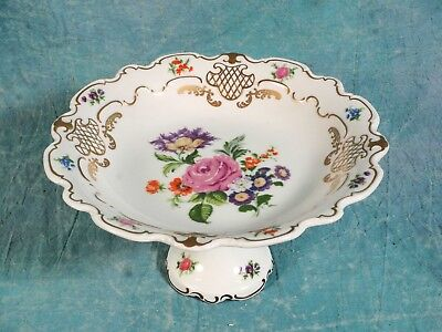 Vintage WALLENDORF 1764 Cake Stand Taza Plate Flowers Gold Gilt